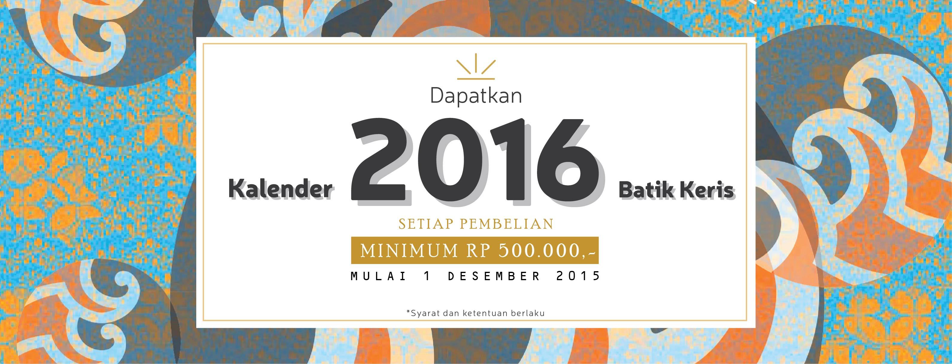 Kalender 2016 Batik Keris